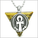 "Amulet Ankh Egyptian Powers of Life Pyramid Energies Tiger Eye Trinity Protection Spirit Pendant on 18"" Steel Necklace"