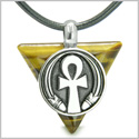 Amulet Ankh Egyptian Powers of Life Pyramid Energies Tiger Eye Trinity Protection Spirit Pendant on Leather Cord Necklace
