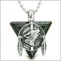 "Amulet Arrowhead Howling Wolf Trinity Dreamcatcher Triangle Protection Energies Black Onyx Pendant on 18"" Steel Necklace"