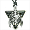 Amulet Arrowhead Howling Wolf Trinity Dreamcatcher Triangle Protection Energies Black Onyx Pendant on Adjustable Cord Necklace