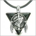 Amulet Arrowhead Howling Wolf Trinity Dreamcatcher Triangle Protection Energies Black Onyx Pendant on Leather Cord Necklace