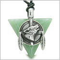 Amulet Arrowhead Howling Wolf Trinity Dreamcatcher Triangle Protection Energy Green Aventurine Pendant Adjustable Cord Necklace