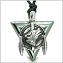 Amulet Arrowhead Howling Wolf Trinity Dreamcatcher Triangle Protection Energies Hematite Pendant on Adjustable Cord Necklace