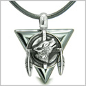 Amulet Arrowhead Howling Wolf Trinity Dreamcatcher Triangle Protection Energies Hematite Pendant on Leather Cord Necklace