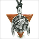 Amulet Arrowhead Howling Wolf Trinity Dreamcatcher Triangle Protection Energies Red Jasper Pendant on Adjustable Cord Necklace