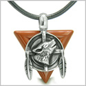 Amulet Arrowhead Howling Wolf Trinity Dreamcatcher Triangle Protection Energies Red Jasper Pendant on Leather Cord Necklace