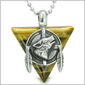 "Amulet Arrowhead Howling Wolf Trinity Dreamcatcher Triangle Protection Energies Tiger Eye Pendant on 22"" Steel Necklace"