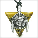 Amulet Arrowhead Howling Wolf Trinity Dreamcatcher Triangle Protection Energies Tiger Eye Pendant on Adjustable Cord Necklace