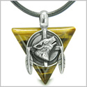 Amulet Arrowhead Howling Wolf Trinity Dreamcatcher Triangle Protection Energies Tiger Eye Pendant on Leather Cord Necklace