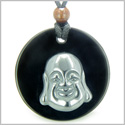 Amulet Happy Laughing Buddha Medallion in Black Onyx and Hematite Gemstones Magic Powers Pendant on Adjustable Necklace