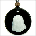 Amulet Happy Laughing Buddha Medallion in Black Onyx and White Jade Gemstones Magic Powers Pendant on Adjustable Necklace
