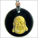 Amulet Happy Laughing Buddha Medallion in Black Onyx and Tiger Eye Gemstones Magic Powers Pendant on Adjustable Necklace