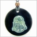 Amulet Happy Laughing Buddha Medallion in Black Onyx and Green Moss Agate Gemstones Magic Powers Pendant on Adjustable Necklace