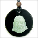 Amulet Happy Laughing Buddha Medallion in Black Onyx and Green Jade Gemstones Magic Powers Pendant on Adjustable Necklace