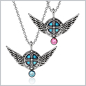 Angel Wings Archangel Uriel Love Couples or Best Friends Set Charms Sky Blue and Pink Pendant Necklaces