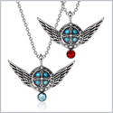 Angel Wings Archangel Uriel Love Couples or Best Friends Set Charms Sky Blue Cherry Red Pendant Necklaces