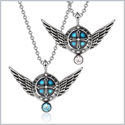 Angel Wings Archangel Uriel Love Couples or Best Friends Set Charms Sky Blue and White Pendant Necklaces
