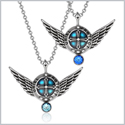 Angel Wings Archangel Uriel Love Couples or Best Friends Set Charms Sky Blue Royal Blue Pendant Necklaces