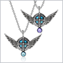 Angel Wings Archangel Uriel Love Couples or Best Friends Set Charms Purple and Sky Blue Pendant Necklaces