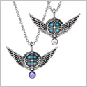 Angel Wings Archangel Uriel Love Couples or Best Friends Set Charms Purple and White Pendant Necklaces
