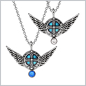Angel Wings Archangel Uriel Love Couples or Best Friends Set Charms Royal Blue White Pendant Necklaces