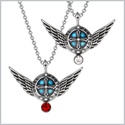 Angel Wings Archangel Uriel Love Couples or Best Friends Set Charms Cherry Red White Pendant Necklaces