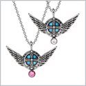 Angel Wings Archangel Uriel Love Couples or Best Friends Set Charms Pink and White Pendant Necklaces