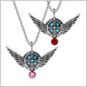 Angel Wings Archangel Uriel Love Couples or Best Friends Set Charms Pink and Cherry Red Pendant Necklaces