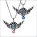 Angel Wings Archangel Uriel Love Couples or Best Friends Set Charms Pink and Royal Blue Pendant Necklaces