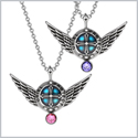 Angel Wings Archangel Uriel Love Couples or Best Friends Set Charms Pink and Purple Pendant Necklaces