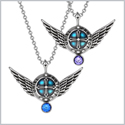 Angel Wings Archangel Uriel Love Couples or Best Friends Set Charms Royal Blue Purple Pendant Necklaces
