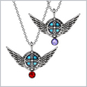 Angel Wings Archangel Uriel Love Couples or Best Friends Set Charms Cherry Red Purple Pendant Necklaces