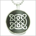 "Life Protection Celtic Shield Knot Black Wood Amulet Magic Powers Circle Pure Stainless Steel on 18"" Pendant Necklace"