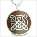 "Life Protection Celtic Shield Knot Cherry Wood Amulet Magic Powers Circle Pure Stainless Steel on 18"" Pendant Necklace"
