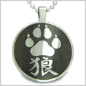 "Magic Kanji Wolf Paw Courage and Protection Powers Black Wood Amulet Circle Pure Stainless Steel on 18"" Pendant Necklace"