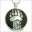 "Magic Kanji Bear Paw Courage and Protection Powers Black Wood Amulet Circle Pure Stainless Steel on 18"" Pendant Necklace"