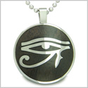 "All Seeing Eye of Horus Egyptian Magic Black Wood Amulet Magic Powers Circle Pure Stainless Steel on 18"" Pendant Necklace"