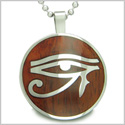 "All Seeing Eye of Horus Egyptian Magic Cherry Wood Amulet Magic Powers Circle Pure Stainless Steel on 18"" Pendant Necklace"