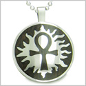 Ankh Egyptian Power of Life Sun Energy Spirit Black Wood Amulet Magic Powers Circle Pure Stainless Steel 22� Pendant Necklace