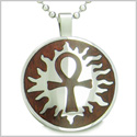 Ankh Egyptian Power of Life Sun Energy Spirit Cherry Wood Amulet Magic Powers Circle Pure Stainless Steel 18� Pendant Necklace