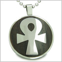 Ankh Egyptian Power of Life Positive Spirit Black Wood Amulet Magic Powers Circle Pure Stainless Steel on 18� Pendant Necklace