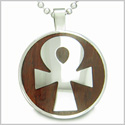 Ankh Egyptian Power of Life Positive Spirit Cherry Wood Amulet Magic Powers Circle Pure Stainless Steel on 22� Pendant Necklace