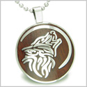 Wolf and Moon Magic Positive Protection Powers Cherry Wood Amulet Magic Powers Circle Pure Stainless Steel 22� Pendant Necklace