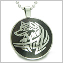 "Courage and Protection Powers Wise Wolf Black Wood Amulet Magic Powers Circle Pure Stainless Steel on 18"" Pendant Necklace"