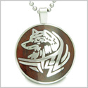Courage and Protection Powers Wise Wolf Cherry Wood Amulet Magic Powers Circle Pure Stainless Steel on 22� Pendant Necklace