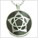 "Flower of Life Wiccan Pentacle Star Black Wood Amulet Magic Powers Circle Pure Stainless Steel on 18"" Pendant Necklace"