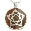 "Flower of Life Wiccan Pentacle Star Cherry Wood Amulet Magic Powers Circle Pure Stainless Steel on 18"" Pendant Necklace"