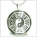 "Yin Yang BA GUA Eight Trigrams Black Wood Amulet Magic Powers Circle Pure Stainless Steel on 22"" Pendant Necklace"