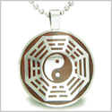 "Yin Yang BA GUA Eight Trigrams Cherry Wood Amulet Magic Powers Circle Pure Stainless Steel on 18"" Pendant Necklace"