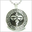 Tibetan Buddha All Seeing Third Wisdom Eye Black Wood Amulet Magic Powers Circle Pure Stainless Steel on 18� Pendant Necklace